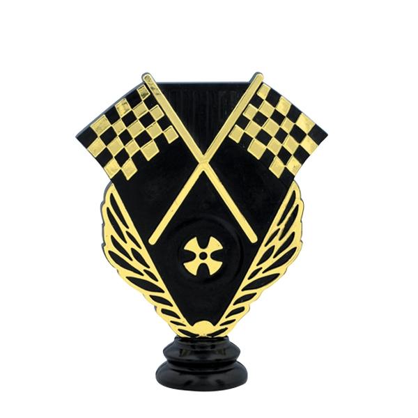 Crossed Racing Flags Trophy Figure