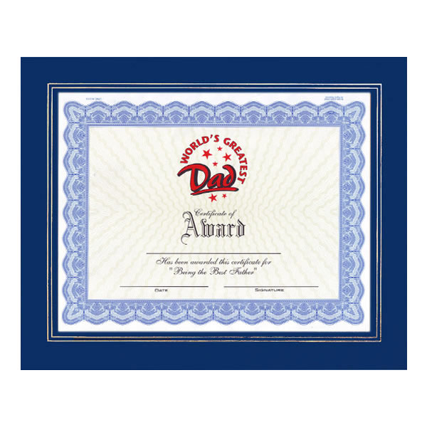 World's Greatest Dad Certificate with Frame
