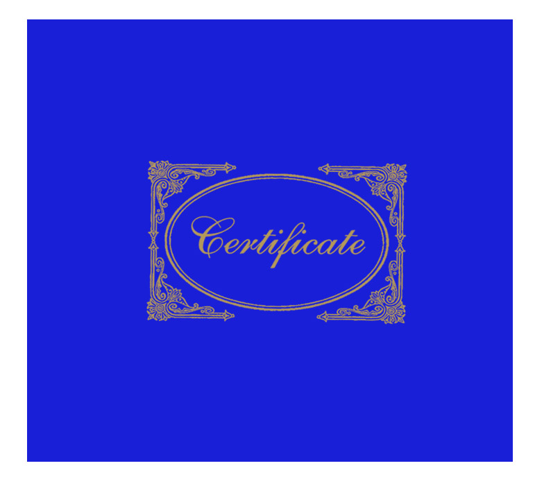 Blue Certificate Cover