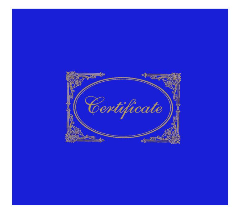 Blue Certificate Cover