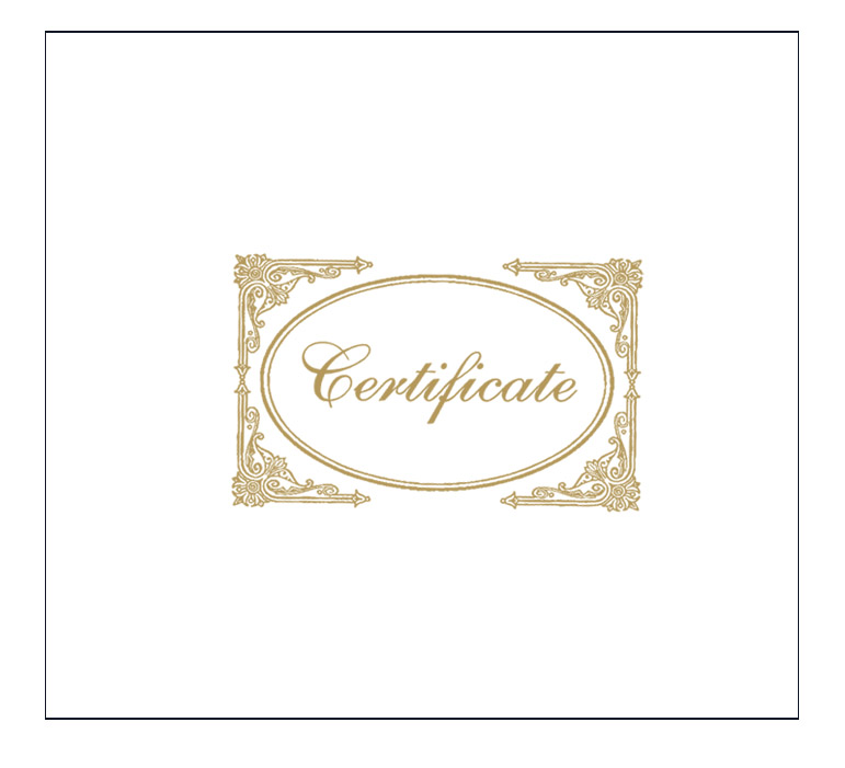 White Certificate Cover