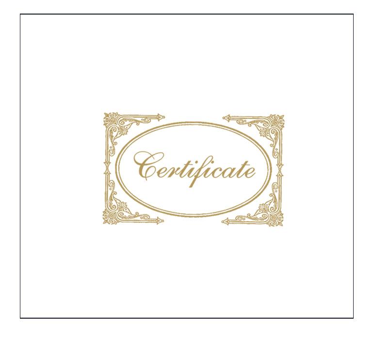 White Certificate Cover