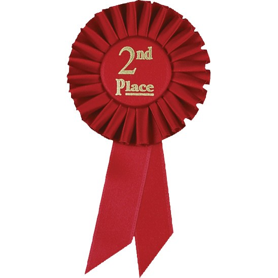 Second Place Red Satin Preprinted Ribbon