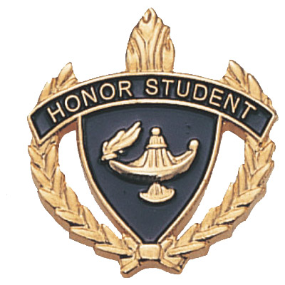 "1"" x 1"" Honor Student Clutch Pin Back"