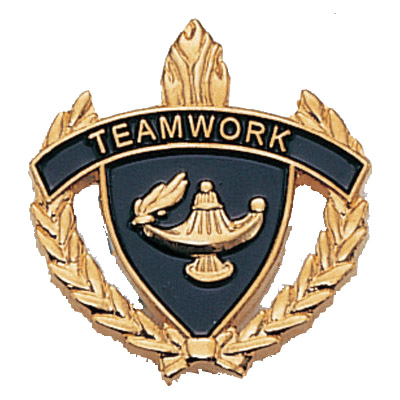 "1"" x 1"" Teamwork Clutch Pin Back"