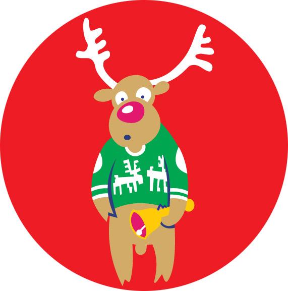 Holiday Sweater Reindeer Emblem