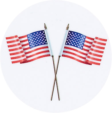 Crossed American Flags Emblem