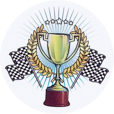 Racing Flags w/Trophy Emblem