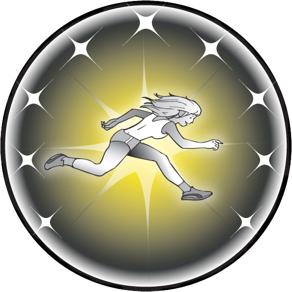 Female Track Runner Emblem