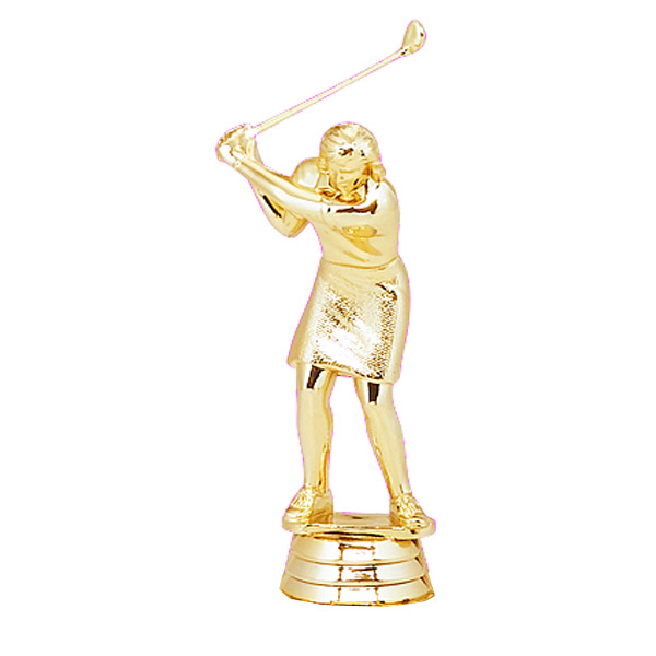 Female Golfer Gold Trophy Figure