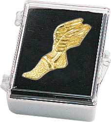 Winged Foot Track Recognition Pin with Box