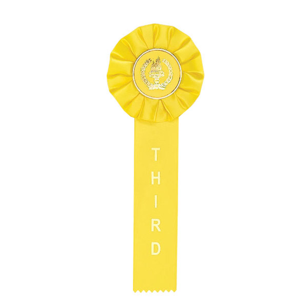 Yellow Third Place Rosette Ribbon