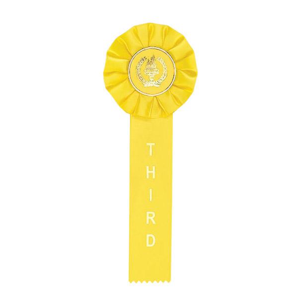 Yellow Third Place Rosette Ribbon