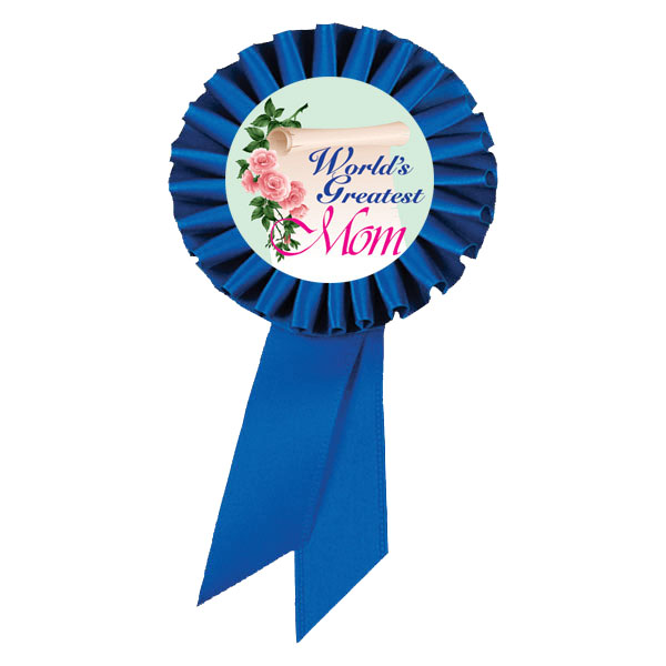 Blue Satin World's Greatest Mom Ribbon