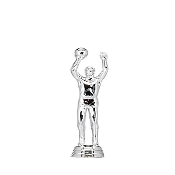 Basketball Center Male Silver Trophy Figure