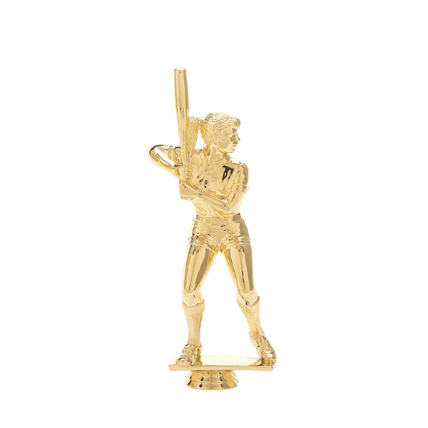 Female Softball Batter Gold Trophy Figure