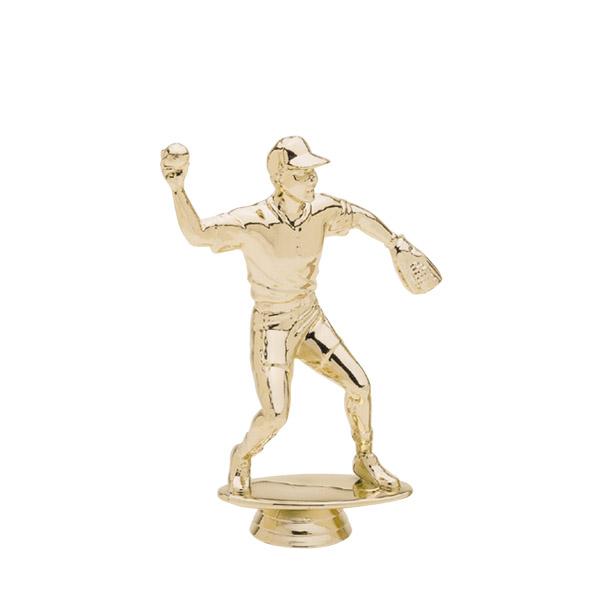 Male Baseball Fielder Gold Trophy Figure
