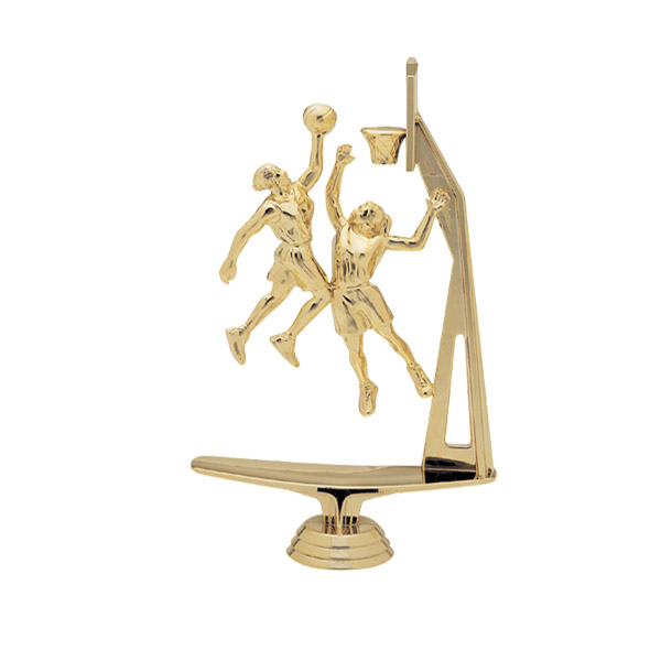 Female Double Action Basketball w/ Hoop Gold Trophy Figure