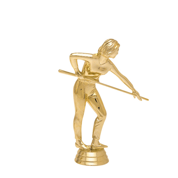 Female Billiard Player Gold Trophy Figure