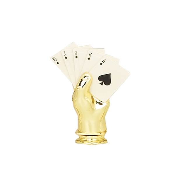 Poker Hand Gold Trophy Figure