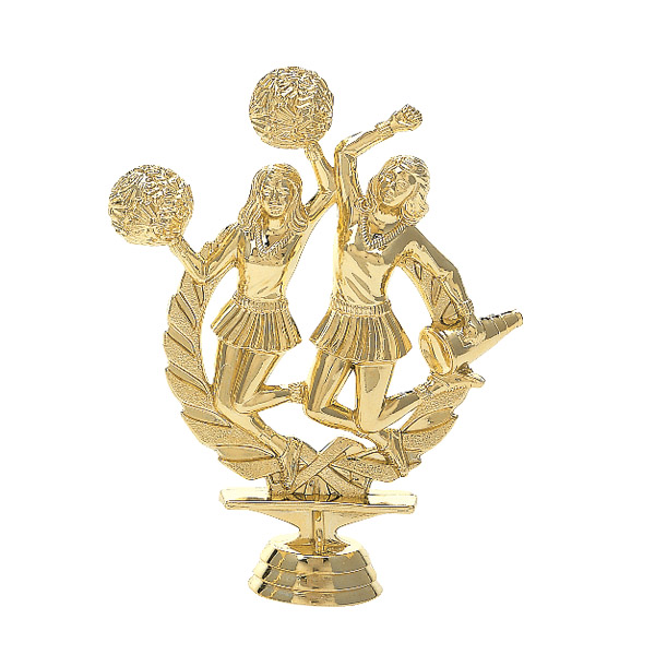 Double Cheerleader Gold Trophy Figure