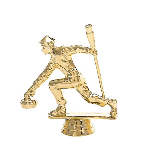 Male Curling Gold Trophy Figure