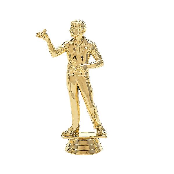 Male Dart Thrower Overhand Gold Trophy Figure