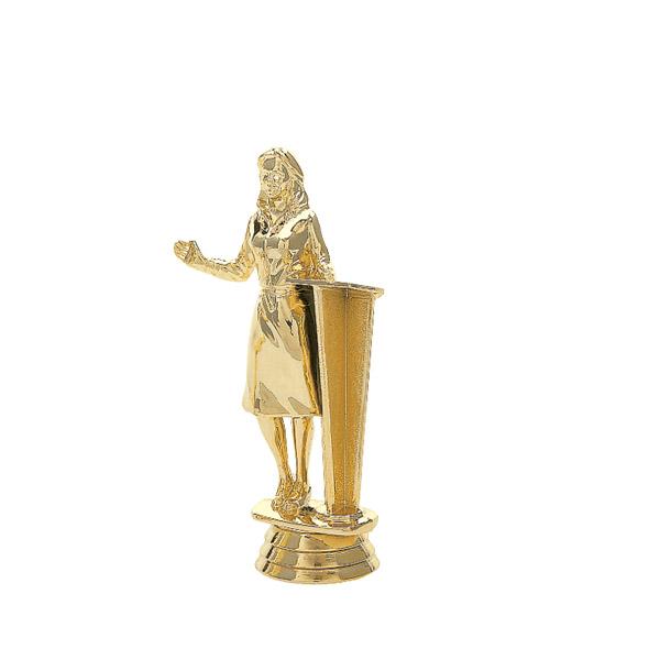 Female Speaker w/ Podium Gold Trophy Figure
