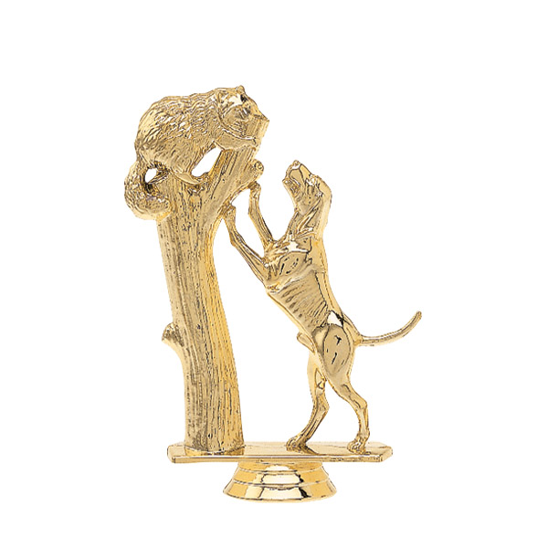 Treeing Coonhound Dog Gold Trophy Figure