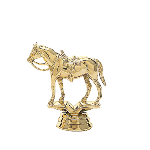 Quarter Horse w/Saddle Gold Trophy Figure