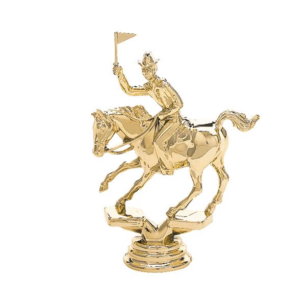 Flag Racing Horse Gold Trophy Figure