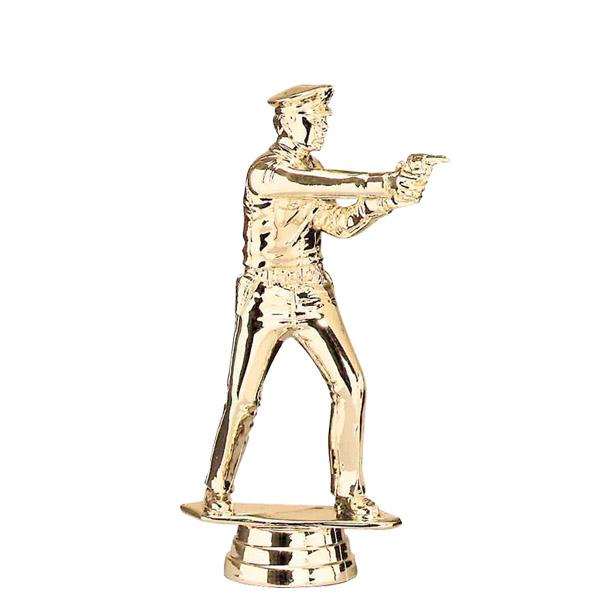 Police Pistol Standing Gold Trophy Figure