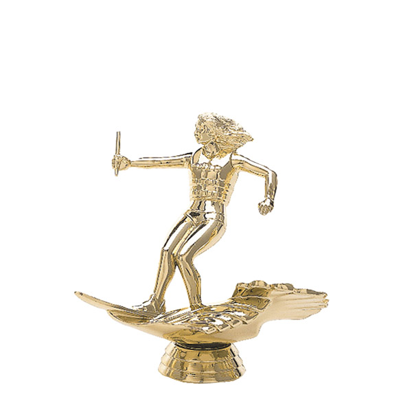 Water Skier Female Gold Trophy Figure