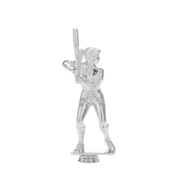Softball Batter Female Silver Trophy Figure