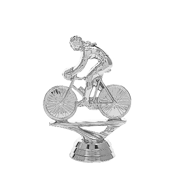 Bicycle w/Rider Silver Trophy Figure