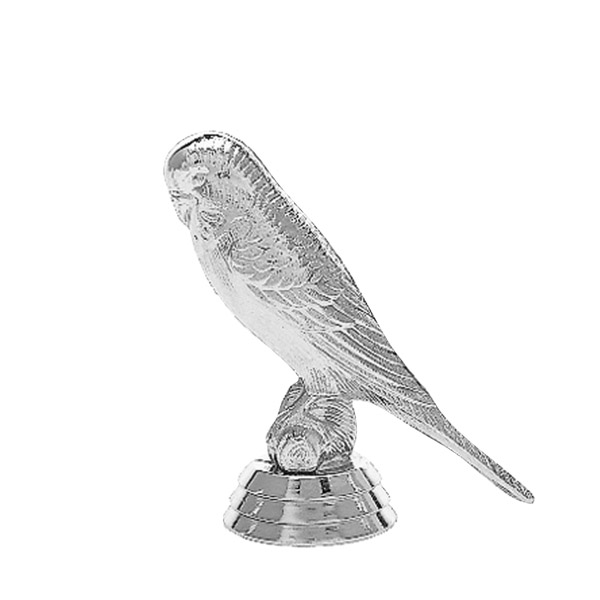 Parakeet Bird Silver Trophy Figure