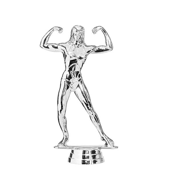 Body Building Female Silver Trophy Figure
