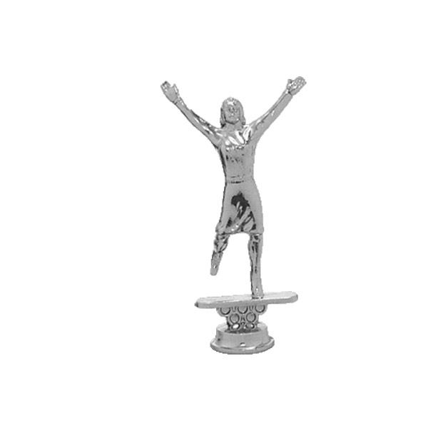 Cheerleader Female Silver Trophy Figure