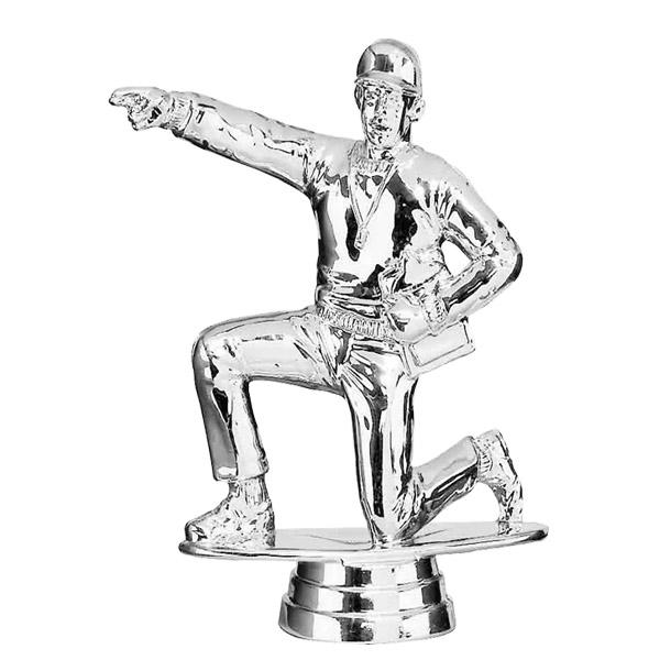 Coach Kneeling Male Silver Trophy Figure