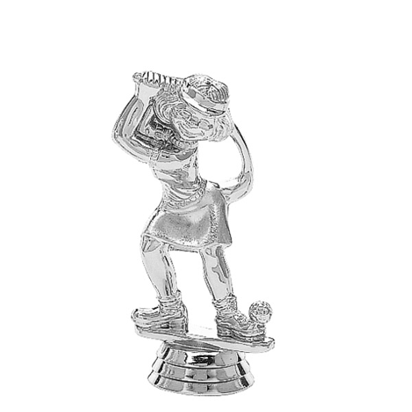 Comic Golfer Female Silver Trophy Figure