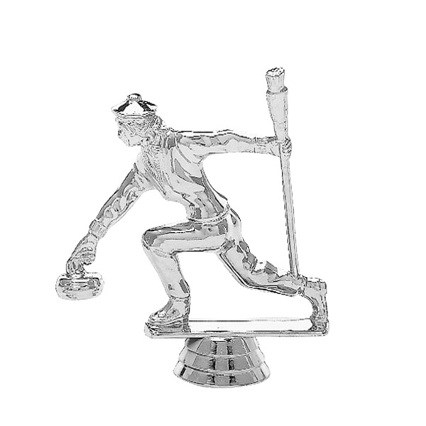 Curling Female Silver Trophy Figure