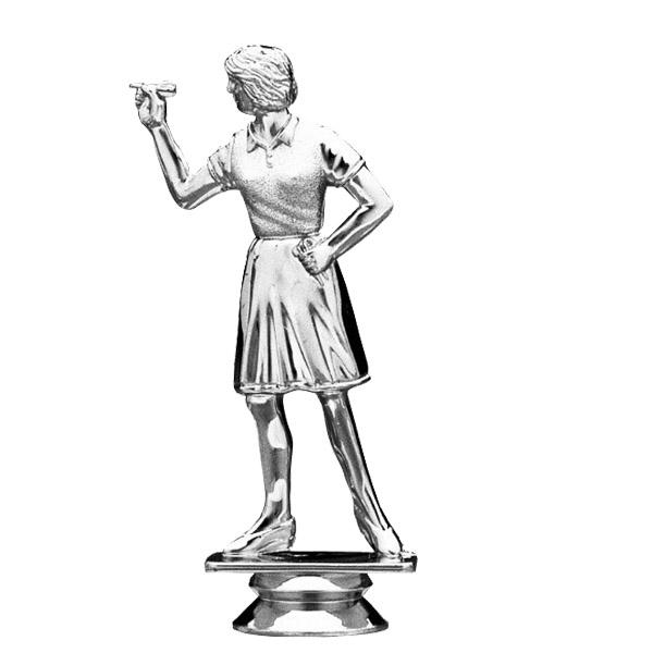 Dart Thrower Overhand Female Silver Trophy Figure