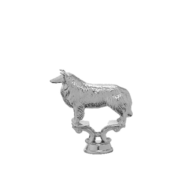 Collie Dog Silver Trophy Figure