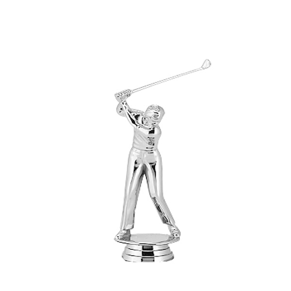 Golf Male Silver Trophy Figure