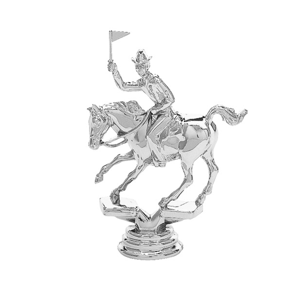 Flag Racing Horse Silver Trophy Figure