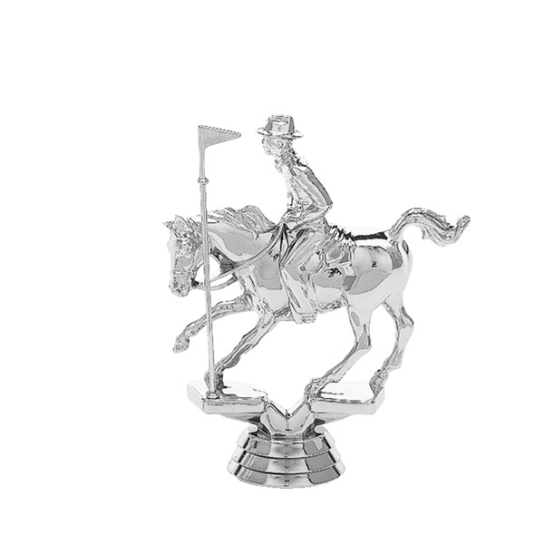 Pole Bending Horse Silver Trophy Figure