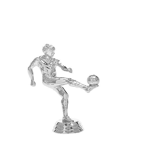 Soccer Kicker Male Silver Trophy Figure