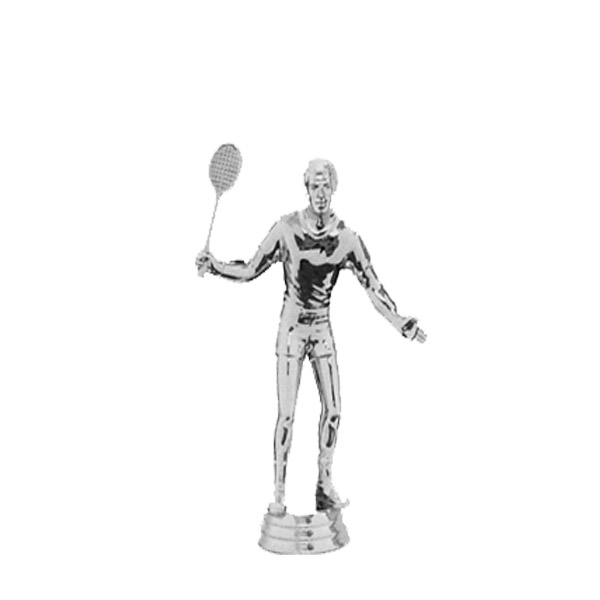 Tenns w/Racquet Male Silver Trophy Figure